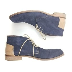 J&M Johnston & Murphy Blue Suede Ankle Boot Chukka